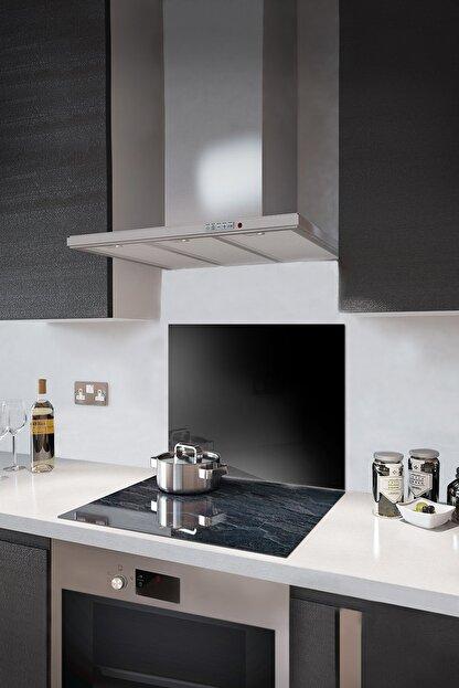 Abant Glass Düz Renk - Siyah   Cam Ocak Arkası Koruyucu   52cm X 60cm