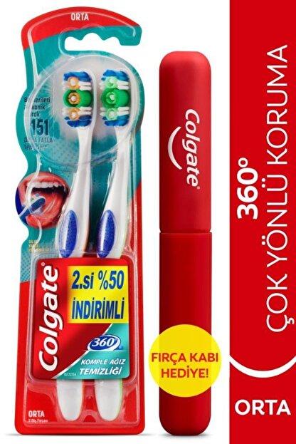 Colgate 360 Komple Ağız Temizliği Çok Yönlü Koruma Orta Diş Fırçası 1+1 Fırça Kabı Hediye