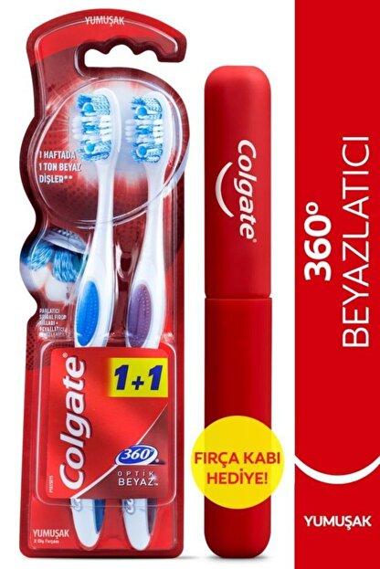 Colgate 360 Optik Beyaz  Yumuşak Beyazlatıcı Diş Fırçası 1+1 Fırça Kabı Hediye