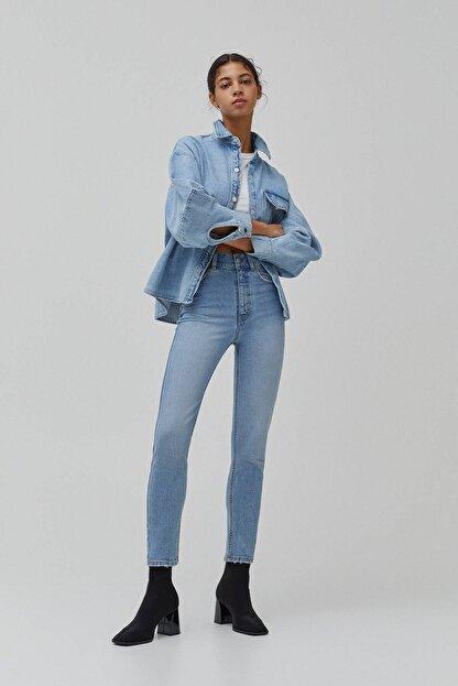 Pull & Bear Kadın Süper Yüksek Bel Slim Fit Mom Jean
