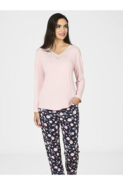 Nbb Kadın Yuvarlak Desen Pijama Takımı 67057