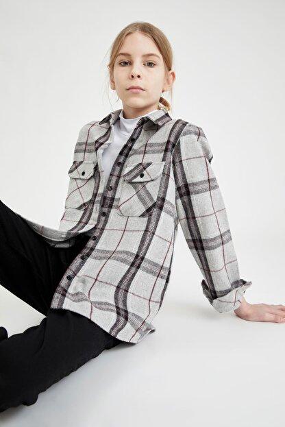 Defacto Kız Çocuk Oversize Oduncu Gömlek