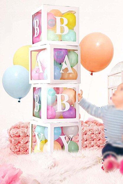 Patladı Gitti 33 Parça Baby Yazılı Şeffaf Beyaz Kutu Balon Seti, Baby Balon Kutusu Bebek Çocuk Doğum Günü Kutlama