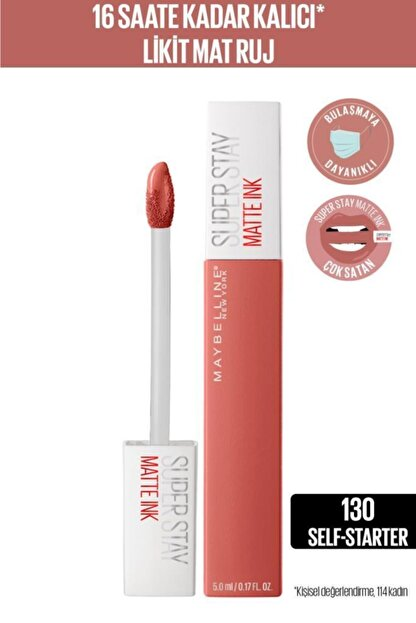 Maybelline New York Super Stay Matte Ink City Edition Likit Mat Ruj - 130 Self-starter