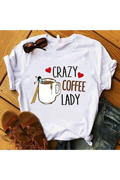 LUCKY GRUP Kadın Beyaz Crazy Baskılı T-shirt