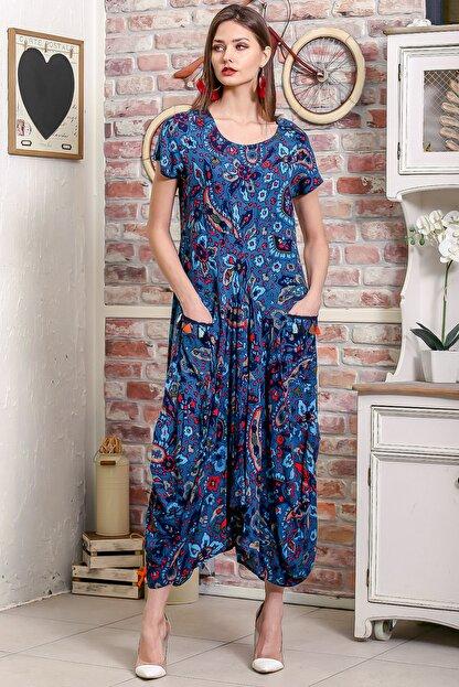 Chiccy Kadın Petrol Mavi Bohem Şal Desen Asimetrik Cepleri Püskül Detaylı Dokuma Elbise