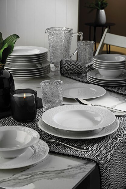 Kütahya Porselen Açelya 24 Parça Yemek Seti