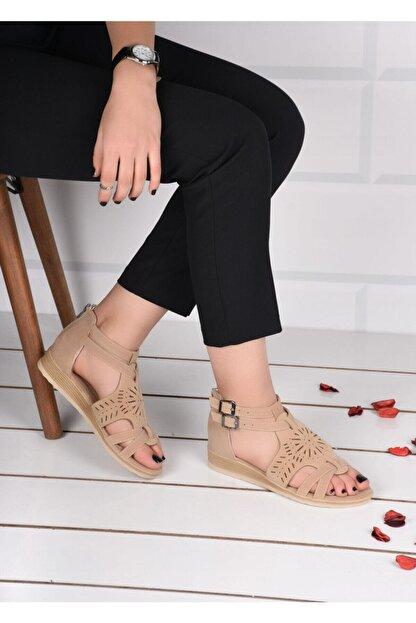 mihra home Kadın Krem Süet Fermuarlı Sandalet Terlik