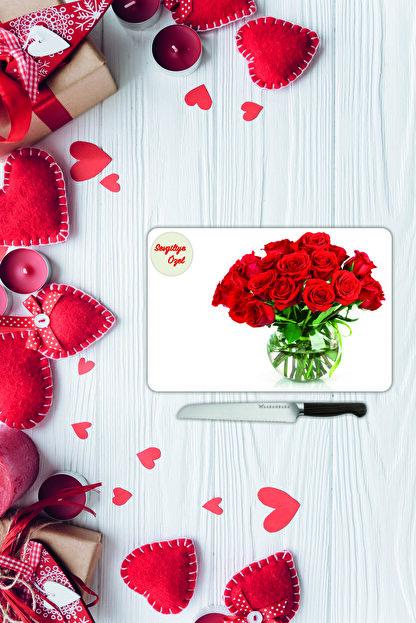 Saban Sevgililer Günü Sevgiliye Özel Yazılı Cam Kesme Tahtası |sv7| 30 Cm X 40 Cm