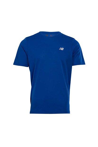 New Balance Erkek Mavi Logo T-shirt - Nbtm008-blu