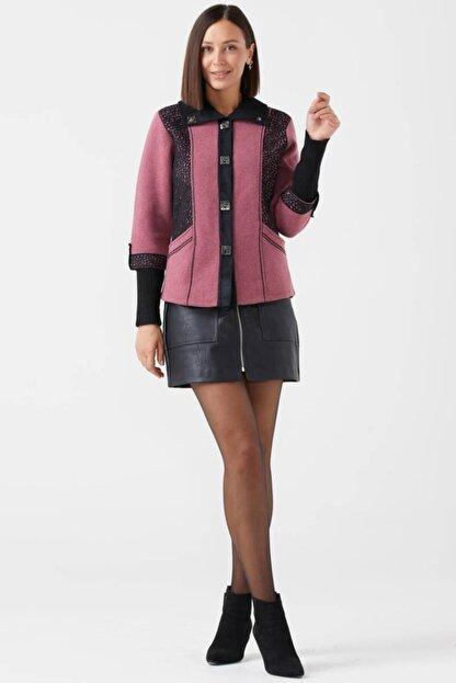Sementa Kadın Polo Yaka Düğmeli Triko Ceket - Gül - Siyah