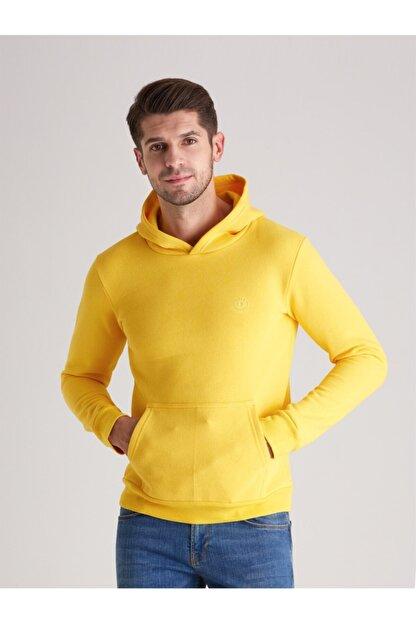 Dufy A. Sarı Içi Polarlı Kapüşonlu Erkek Sweatshırt - Slım Fıt
