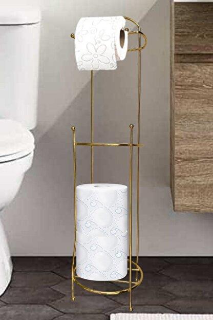 Vipsepet Gold Ayaklı Tuvalet Kağıtlığı Wc Kağıtlık Yedekli Tuvalet Paslanmaz Çelik Yedekli Tuvalet Kağıtlığı