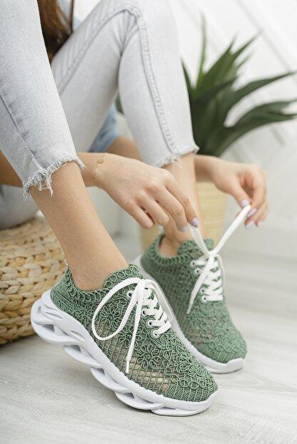 Moda Değirmeni Kadın Su Yeşili Dantelli Sneaker Md1067-101-0001