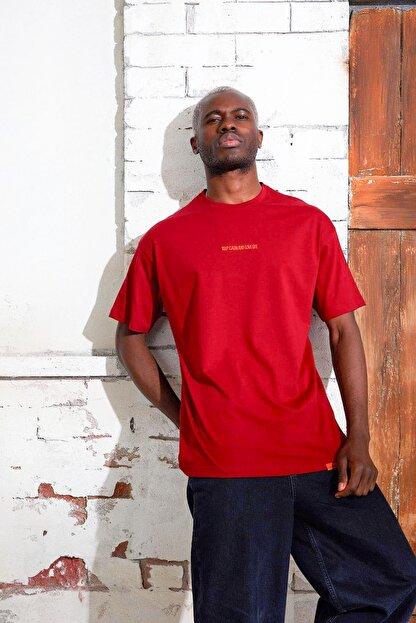 Densmood Yazılı Pamuklu Oversize Kesim T-shirt