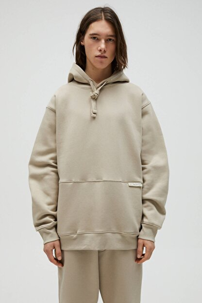 Pull & Bear Erkek Kum Rengi Kapüşonlu Oversize Sweatshirt 04591560
