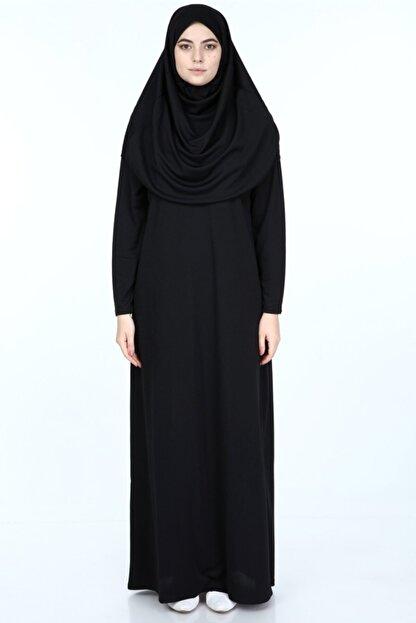 erva collection Kadın Siyah Başörtülü Pratik Namaz Elbisesi (Hediyeli)