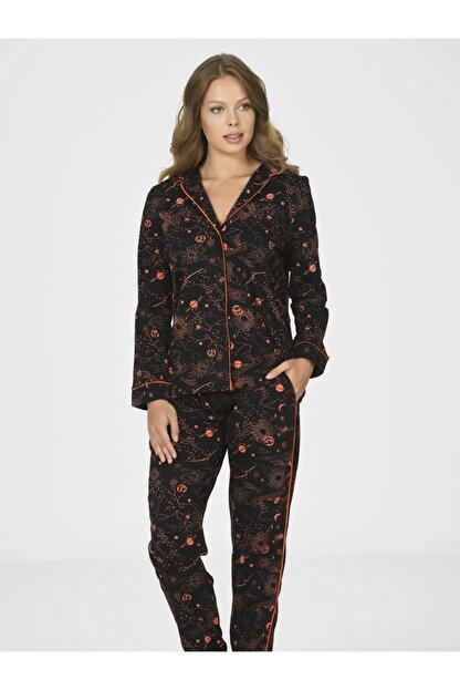 Nbb Kadın Siyah Galaksi Önden Düğmeli Pijama Takımı 67006