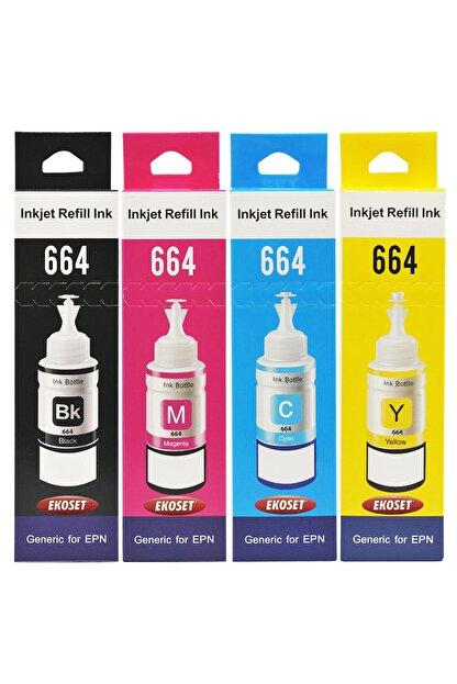 Epson T664 L382,l386,l3050,l3060,l3070,l565 4 Renk Mürekkep Seti