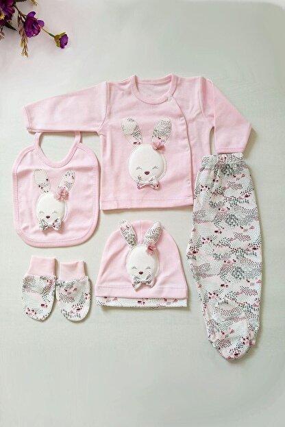 Gaye Kız Bebek Pembe Pamuklu Tavşan Desenli Hastane Çıkışı 5li