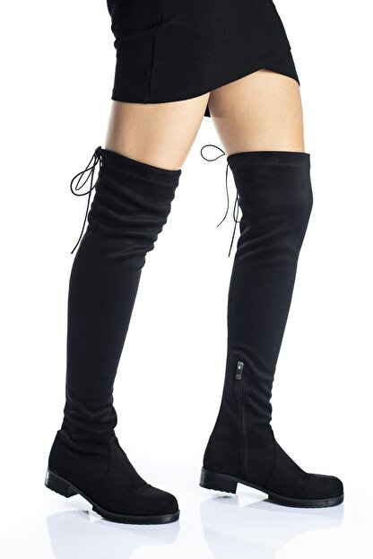 Bak Store Kadın Siyah Süet Streç Diz Üstü Çorap Çizme