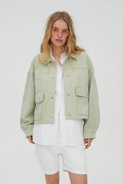 Pull & Bear Kadın  Açık Yeşil Crop Fit Suni Süet Ceket 04711315