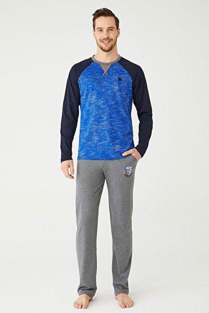 US Polo Assn Erkek Sax Yuvarlak Yaka Pijama Takım