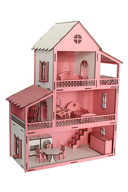 Okutan Hobi Pembe Barbie Ev Eşyalı Ahşap Oyun Evi