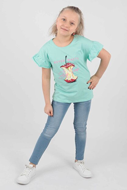 Ahenk Kids Kız Çocuk Elma Baskılı Tshirt Ak721507