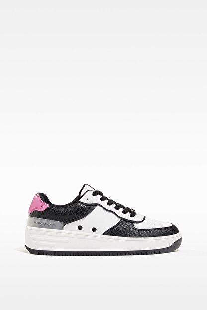 Bershka Kadın Beyaz Kontrast Kabartmalı Spor Ayakkabı