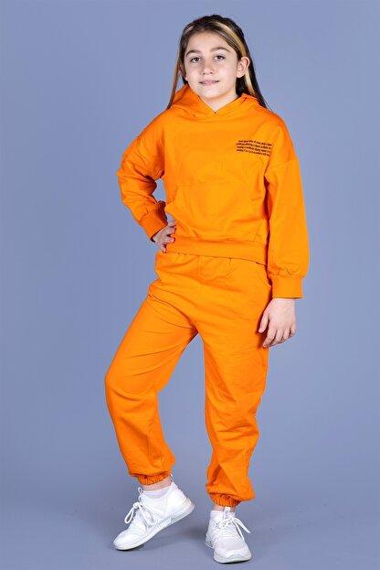 Toontoy Kız Çocuk Turuncu Baskılı Takım