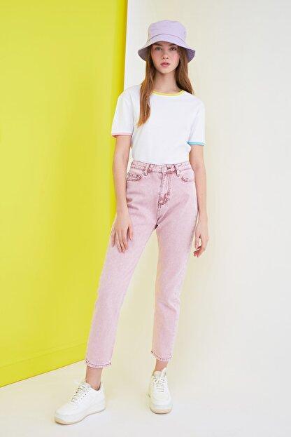 TRENDYOLMİLLA Pembe Yüksek Bel Mom Jeans TWOSS21JE0172