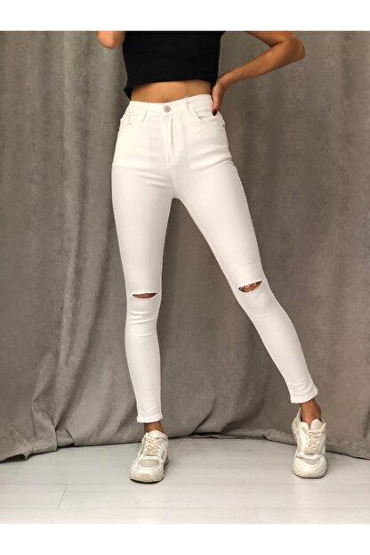 ETC Butik Beyaz Diz Yırtık Yüksek Bel Dar Paça Full Likralı Kot Pantolon