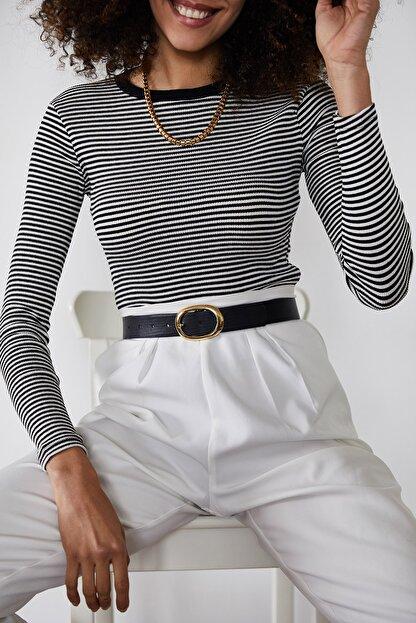 Xena Kadın Siyah Çizgili Fitilli Bluz 1KZK2-11373-02