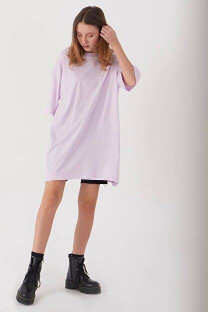 Addax Kadın Açık Lila Oversize T-Shirt P0731 - G6K7 Adx-0000020596