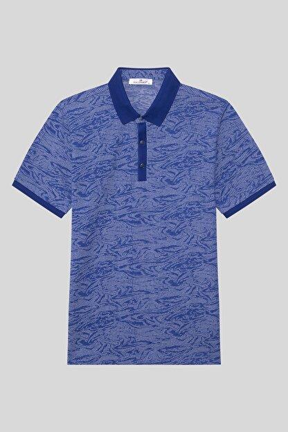 Halifaks Erkek Lacivert Polo Yaka Desenli Pamuklu T-shirt