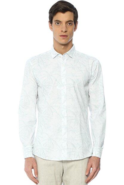 Network Erkek Beyaz Baskılı Gömlek 2400404824178