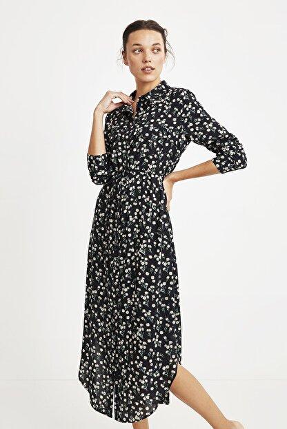 Penye Mood Kadın Siyah Çiçek Desenli Elbise