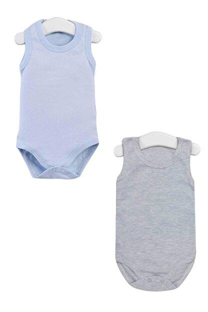 Pattaya Kids Erkek Bebek Mavi Gri Kolsuz Çıtçıtlı Body Ptk20s-401