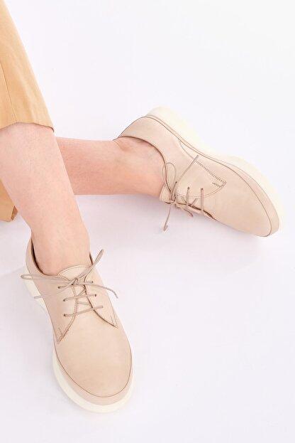 Marjin Kadın Bej Hakiki Deri Comfort Ayakkabı Porvez