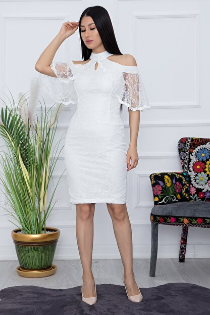 PULLIMM Kadın Ekru Dantel Kısa Elbise 13327