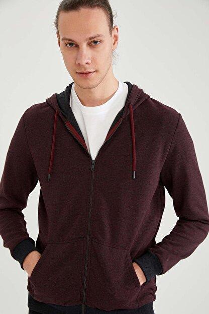 Defacto Erkek Kapüşonlu Fermuarlı Sweatshirt