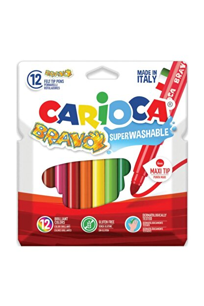 Carioca Bravo Süper Yıkanabilir Keçeli Kalem 12'li