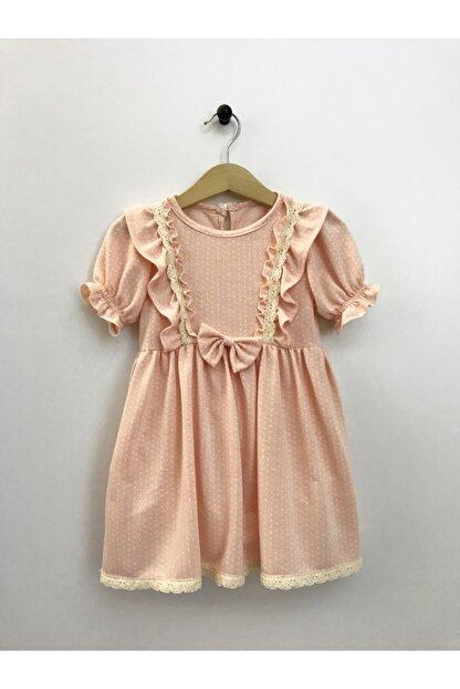 Cherrys Bebek Kız Çocuk Somon Küçük Puanlı  Elbise