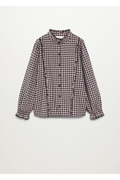 Mango Kız Çocuk Pembe Ekoseli Fırfırlı Gömlek