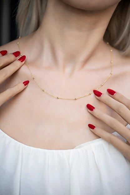 İzla Design Kadın Toplu Zincir Model Altın Kaplama Kolye Izlaslvr00584