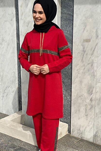 CNG MODA Kadın Sim Şeritli Eşofman Takımı Kırmızı