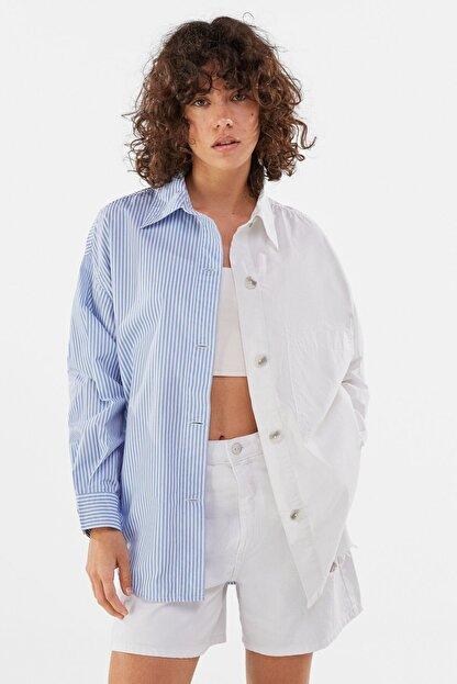 Bershka Kadın Beyaz Poplin Ince Ceket