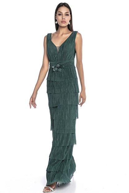 Abiye Sarayı Kadın Yeşil Bel Ve Göğüs Detaylı Kat Kat Uzun Abiye