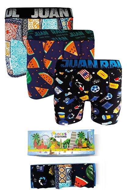 Socks Stations 3'lü Renkli Desenli Boxer Kutusu